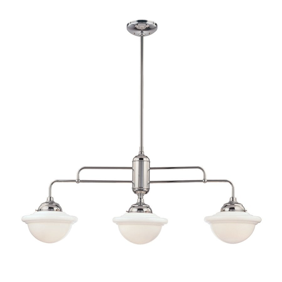 Millennium Lighting Neo-Industrial 3-Light Chrome Kitchen Island Light with White Shades