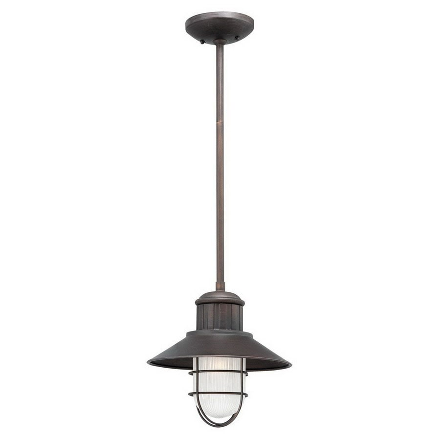 Millennium Lighting Neo-Industrial 11-in Rubbed Bronze Coastal Mini Etched Glass Warehouse Pendant