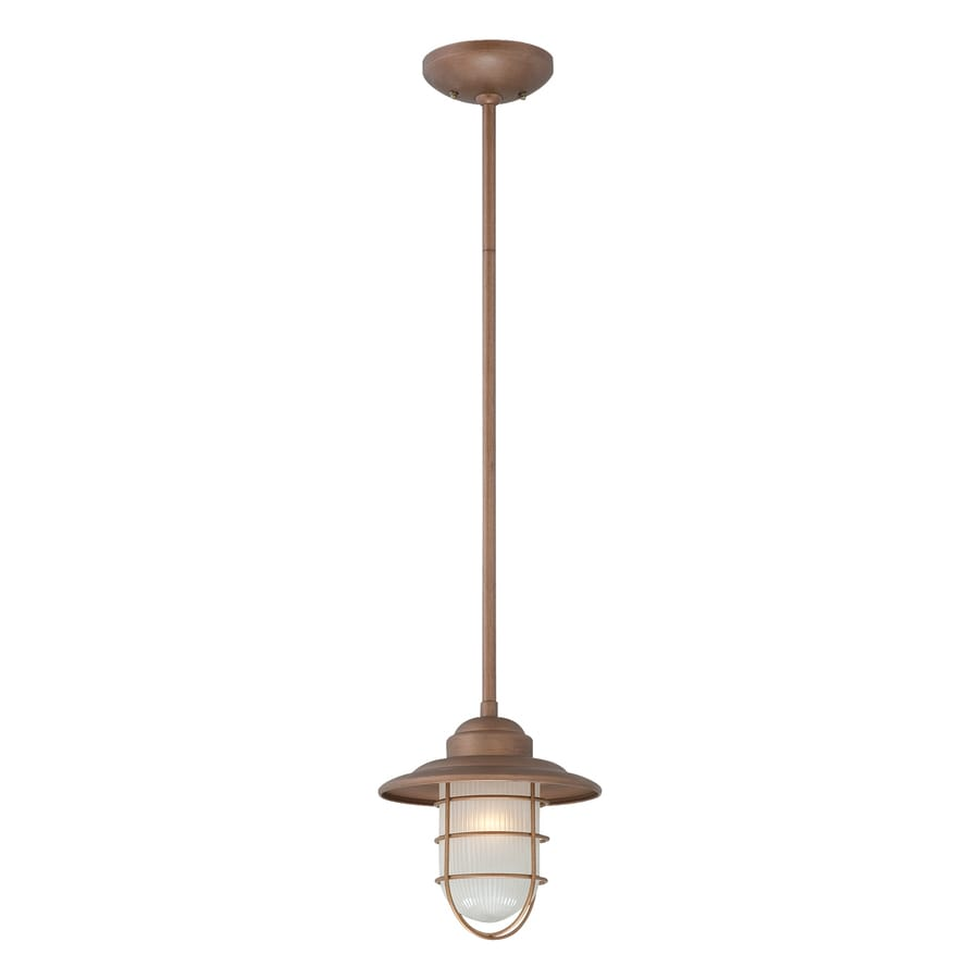 Millennium Lighting Neo-Industrial 8.5-in Copper Coastal Mini Etched Glass Warehouse Pendant