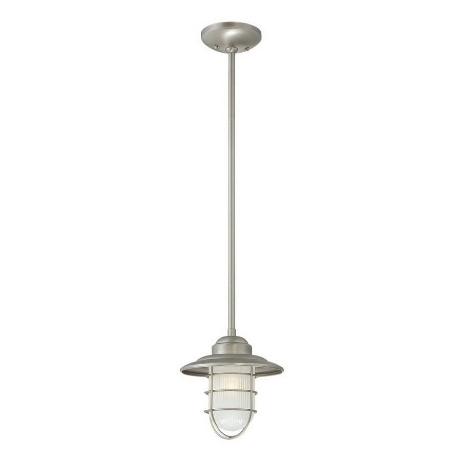 Millennium Lighting Neo-Industrial 8.5-in Satin Nickel Coastal Mini Etched Glass Warehouse Pendant