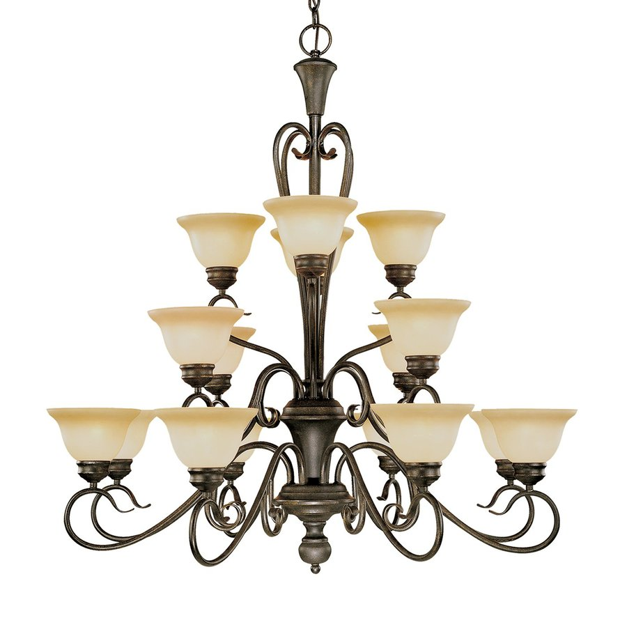 Millennium Lighting Devonshire 39.5-in 16-Light Burnished Gold Mediterranean Scavo Glass Shaded Chandelier