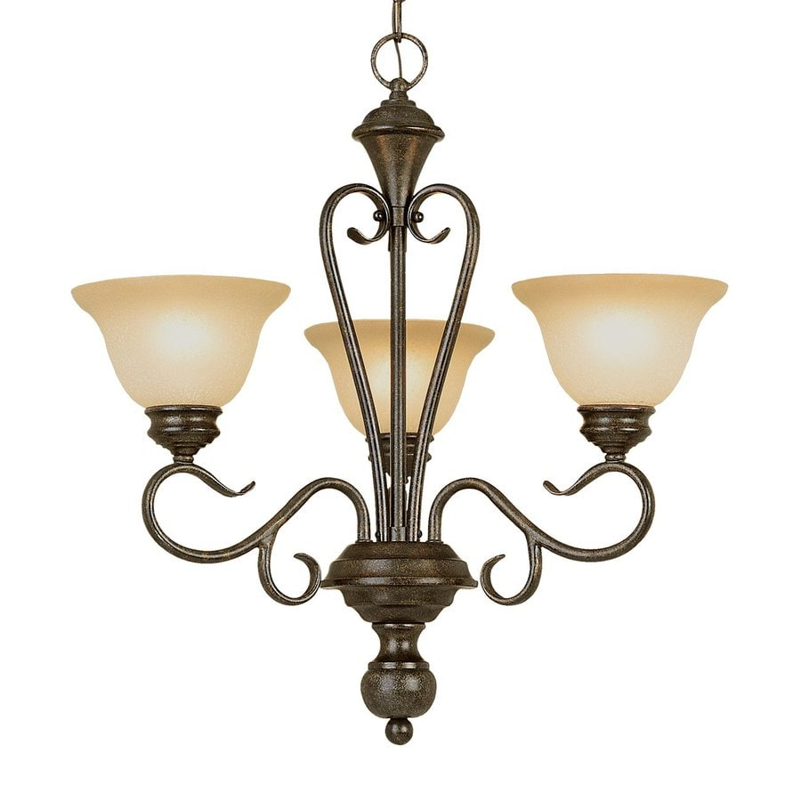 Millennium Lighting Devonshire 23-in 3-Light Burnished Gold Scavo Glass Shaded Chandelier