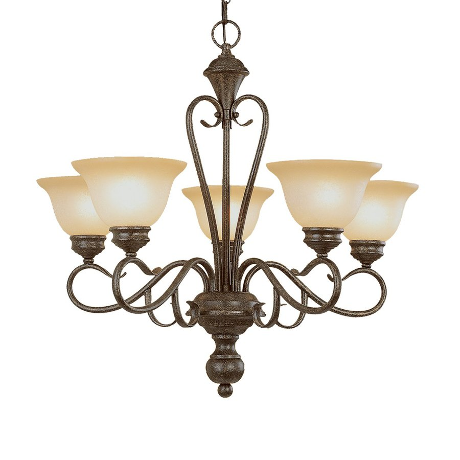 Millennium Lighting Devonshire 25.5-in 5-Light Burnished Gold Scavo Glass Shaded Chandelier