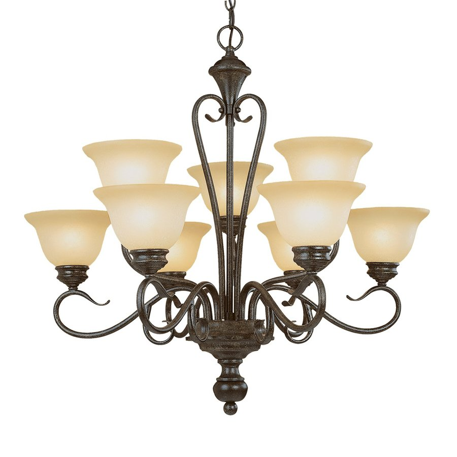 Millennium Lighting Devonshire 29-in 9-Light Burnished Gold Scavo Glass Shaded Chandelier