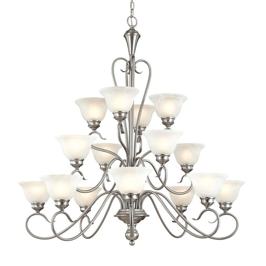 Millennium Lighting Devonshire 39.5-in 16-Light Satin Nickel Vintage Alabaster Glass Tiered Chandelier