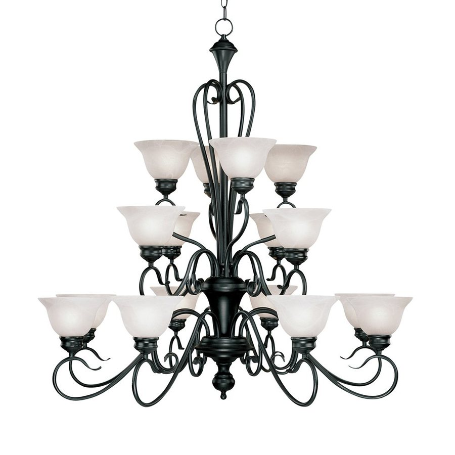Millennium Lighting Devonshire 39.5-in 16-Light Matte Black Wrought Iron Alabaster Glass Tiered Chandelier