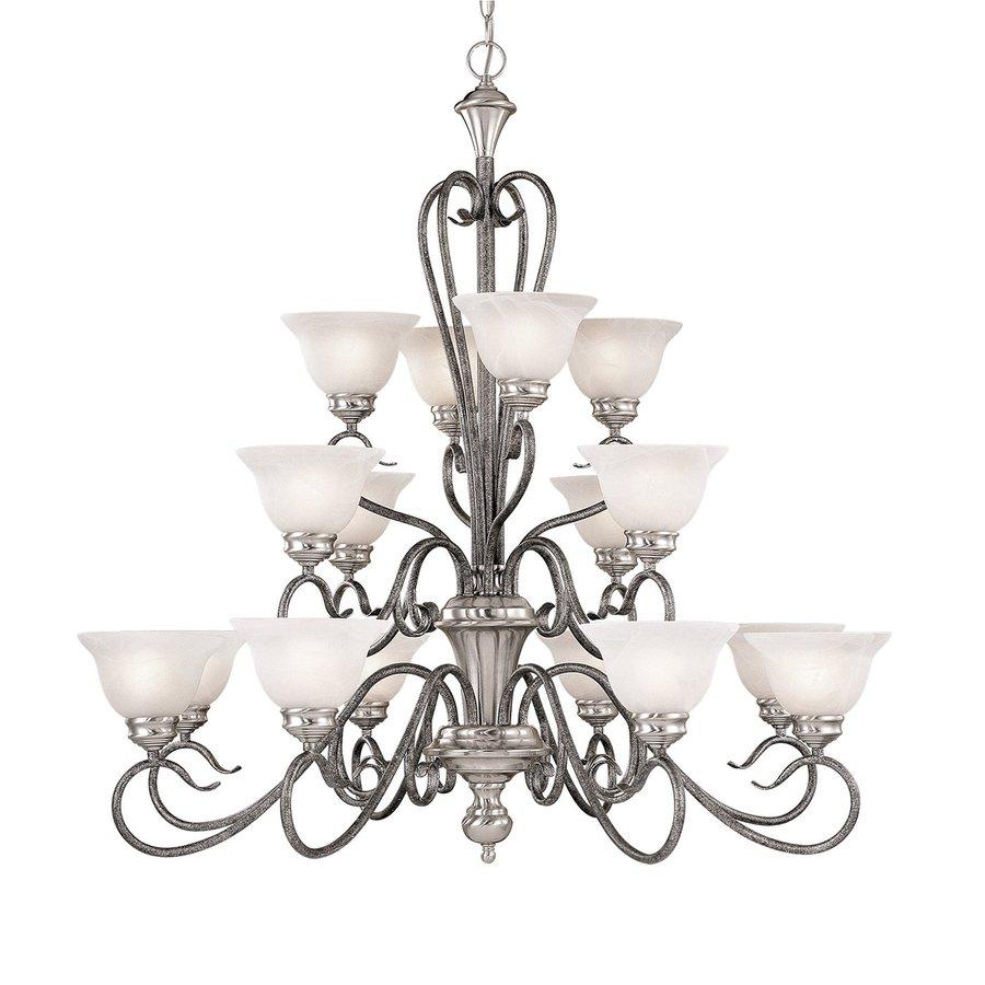 Millennium Lighting Devonshire 39.5-in 16-Light Silver Mist Vintage Alabaster Glass Tiered Chandelier
