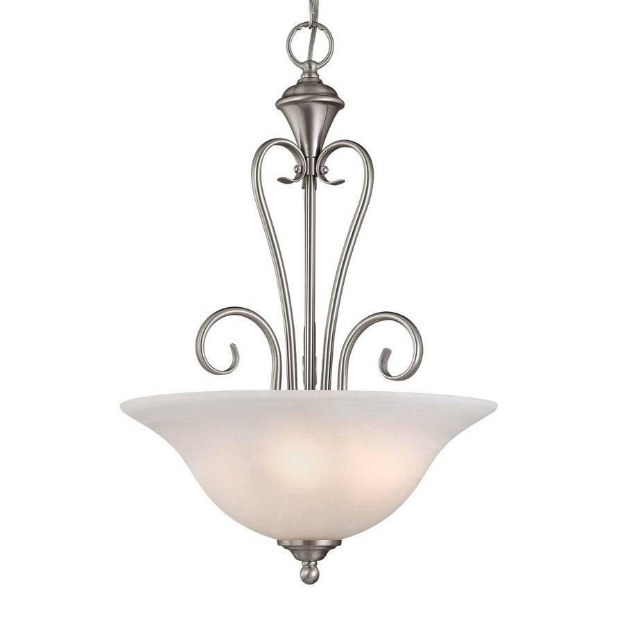 Millennium Lighting Devonshire 16-in Satin Nickel Vintage Single Alabaster Glass Bowl Pendant