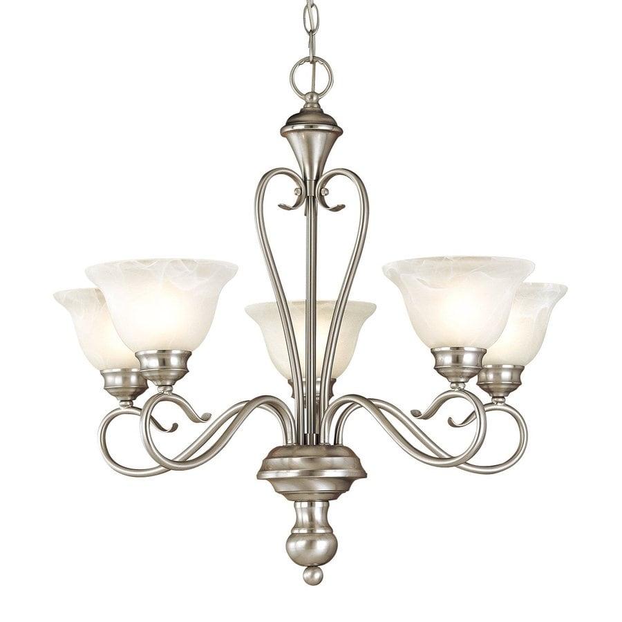 Millennium Lighting Devonshire 25.5-in 5-Light Satin Nickel Vintage Alabaster Glass Shaded Chandelier
