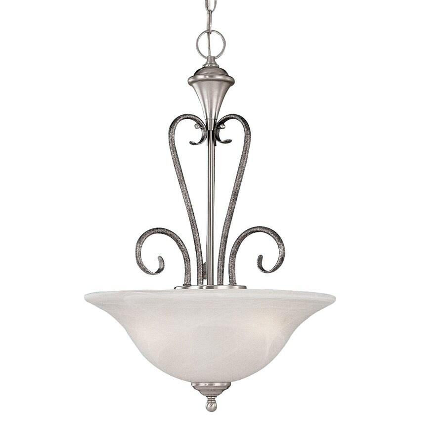 Millennium Lighting Devonshire 16-in Black Wrought Iron Single Alabaster Glass Bowl Pendant