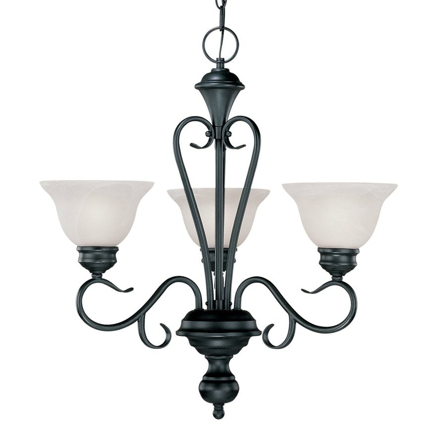 Millennium Lighting Devonshire 23-in 3-Light Black Wrought Iron Alabaster Glass Shaded Chandelier
