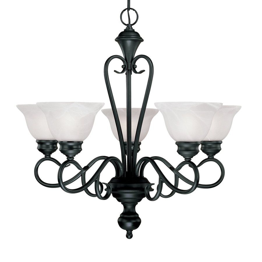 Millennium Lighting Devonshire 25-in 5-Light Black Wrought Iron  Alabaster Glass Shaded  Chandelier