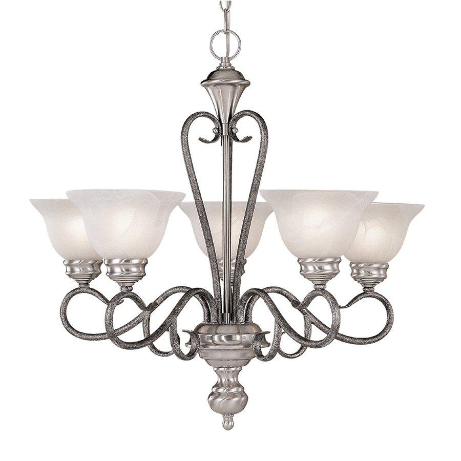 Millennium Lighting Devonshire 25.5-in 5-Light Satin Nickel/Silver Mist Vintage Alabaster Glass Shaded Chandelier