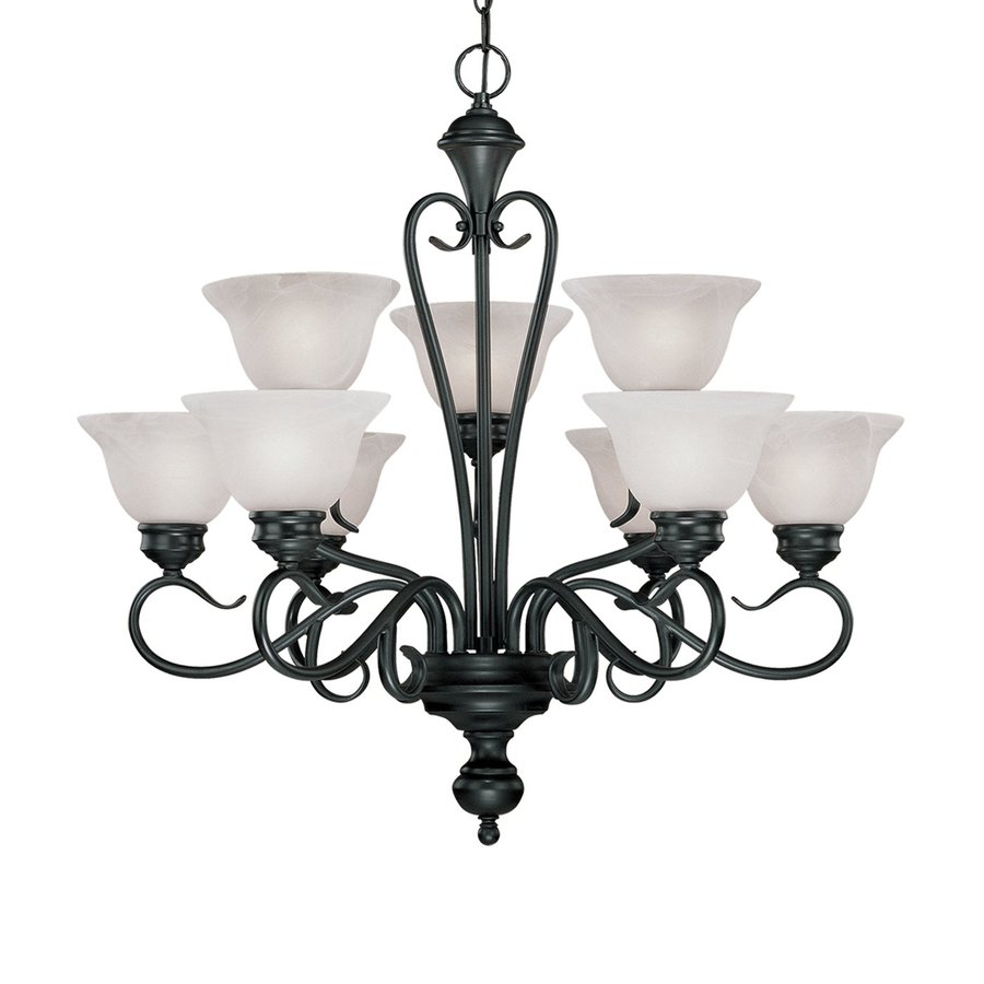 Millennium Lighting Devonshire 29-in 9-Light Black Wrought Iron Alabaster Glass Tiered Chandelier