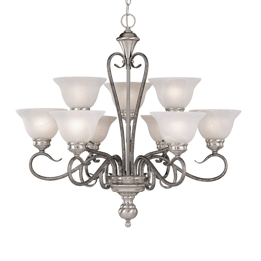 Millennium Lighting Devonshire 29-in 9-Light Satin Nickel Vintage Alabaster Glass Tiered Chandelier