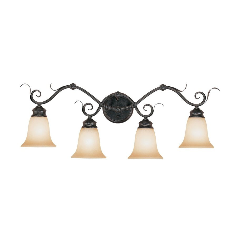 Millennium Lighting 4-Light 11.5-in Charcoal/Burnished Gold Bell Vanity Light