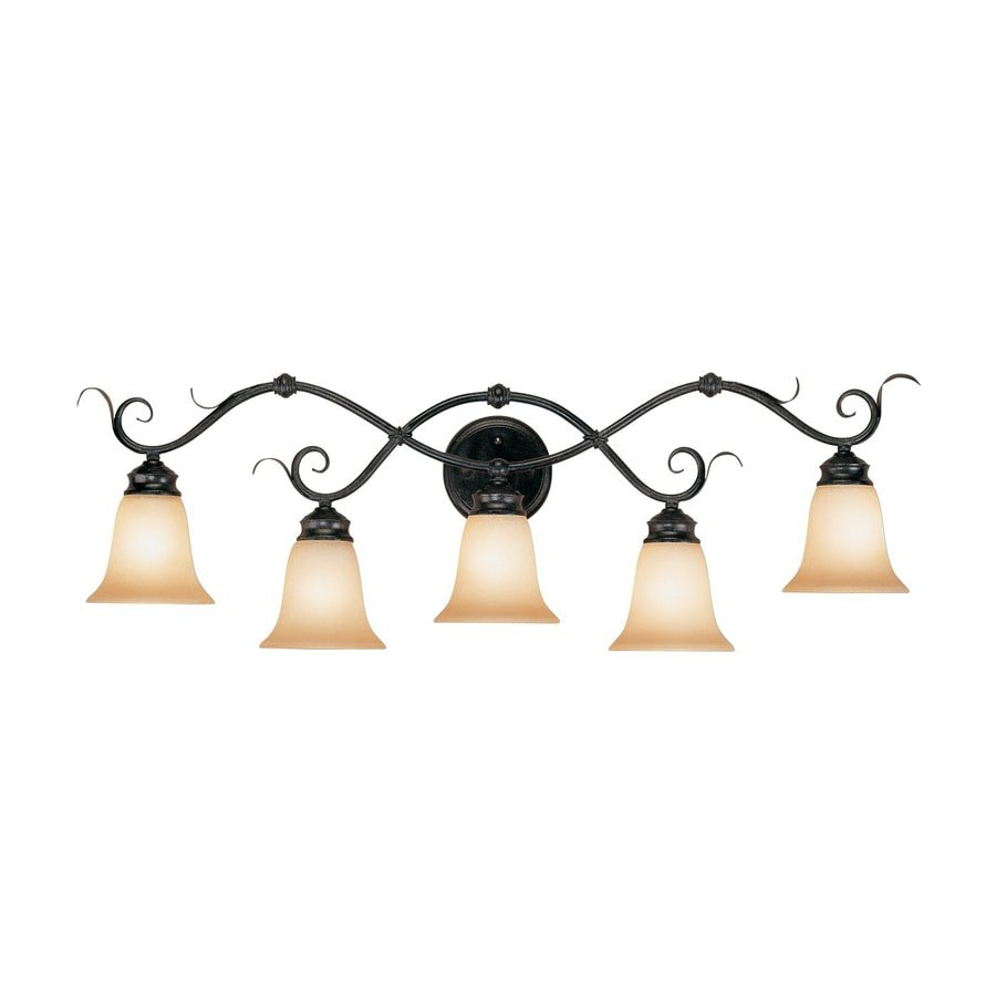 Millennium lighting 5 light 38 in charcoal burnished gold bell vanity light