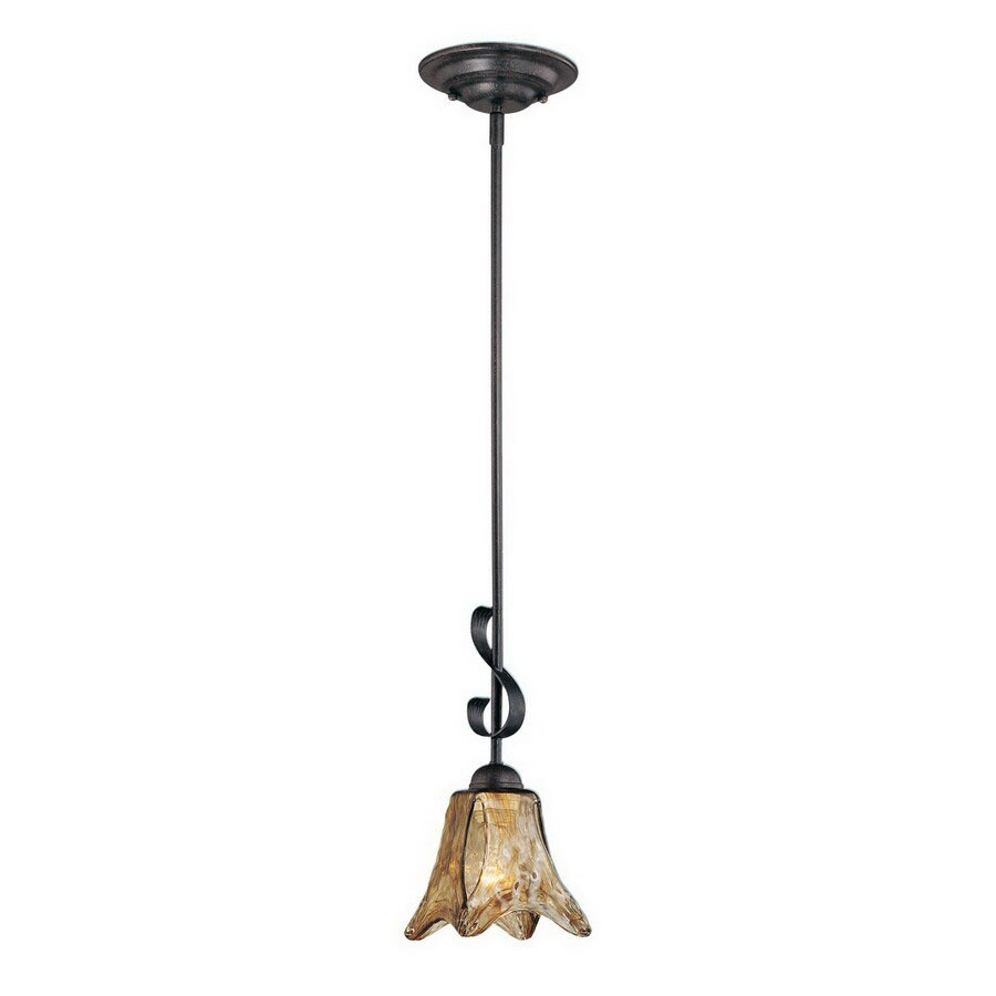 Millennium Lighting Chatsworth 5-in Burnished Gold Vintage Hardwired Mini Tinted Glass Bell Standard Pendant