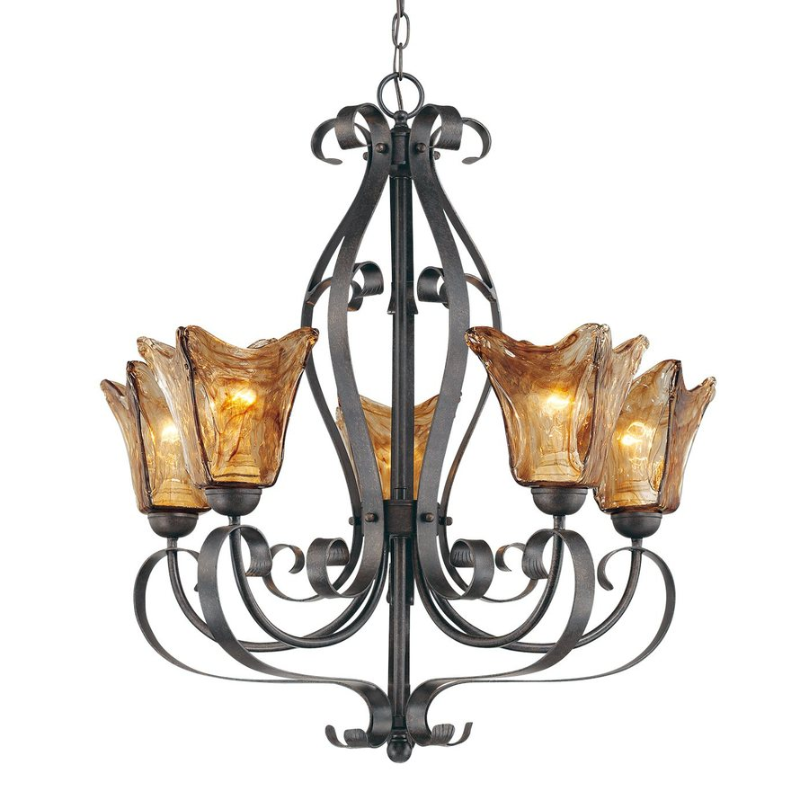 Millennium Lighting Chatsworth 26-in 5-Light Burnished Gold Wrought Iron Tinted Glass Shaded Chandelier