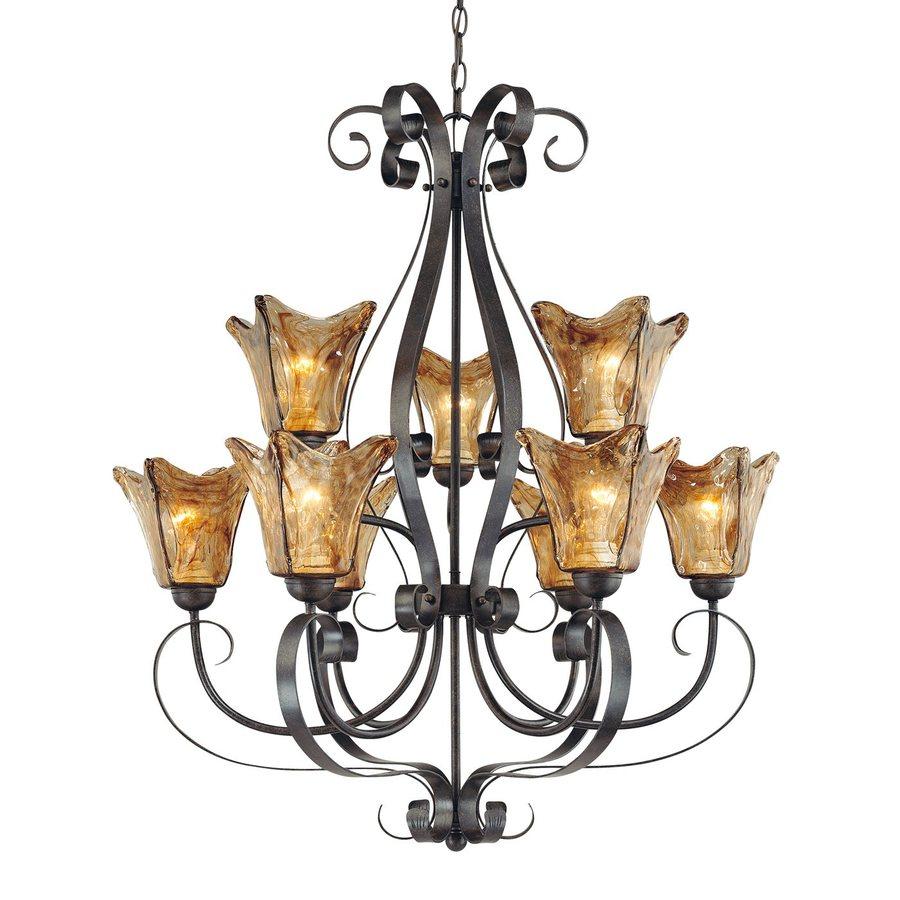Millennium Lighting Chatsworth 30-in 9-Light Burnished Gold Mediterranean Tinted Glass Tiered Chandelier