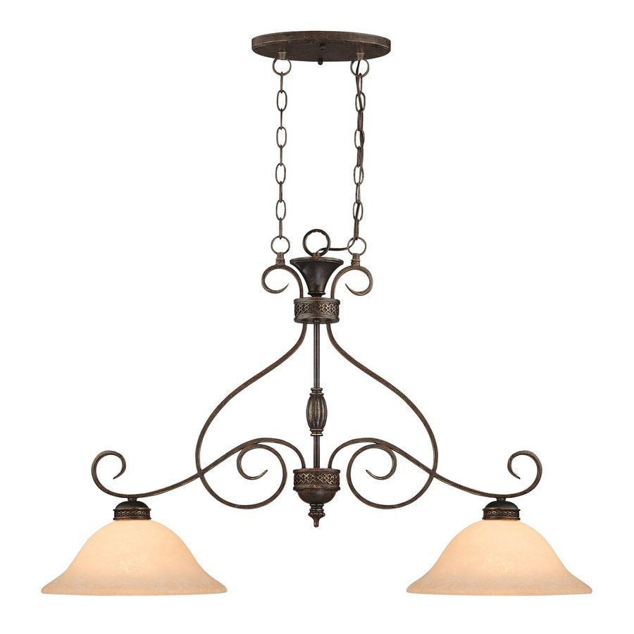 Millennium Lighting Alma 39-in W 2-Light Bronze/Gold Traditional Standard Kitchen Island Light with Tinted Shade