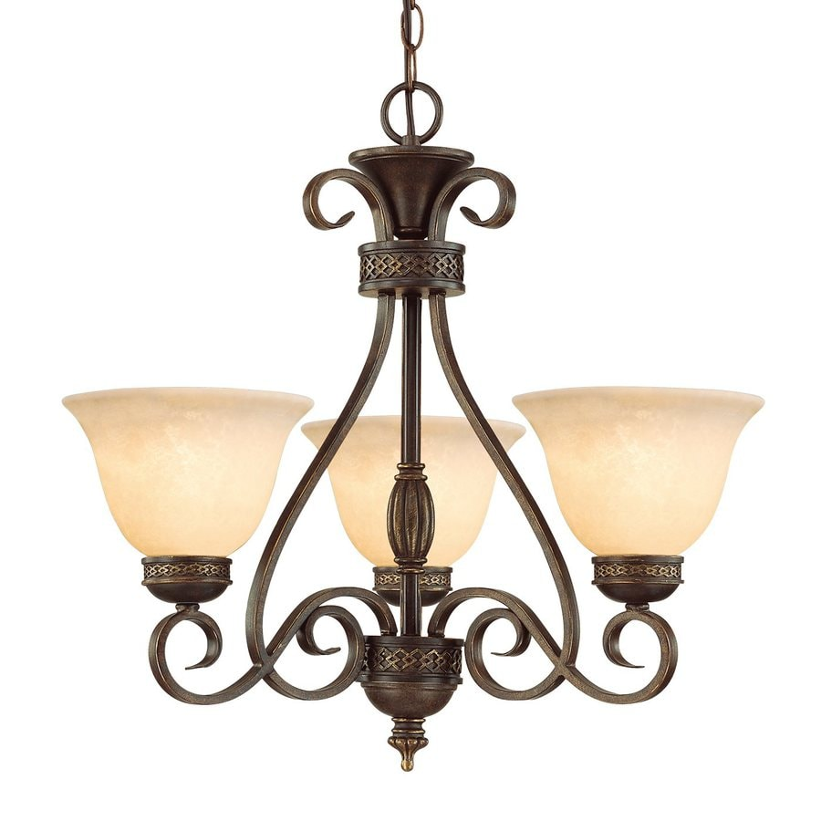 Millennium Lighting Alma 23-in 3-Light Bronze with gold highlights Mediterranean Scavo Glass Shaded Chandelier