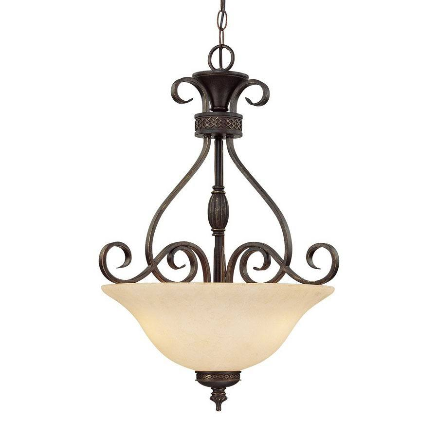 Millennium Lighting Alma 18-in Bronze/Gold Mediterranean Single Tinted Glass Bowl Pendant