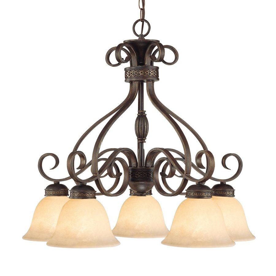 Millennium Lighting Alma 26.5-in 5-Light Bronze with Gold Mediterranean Scavo Glass Shaded Chandelier