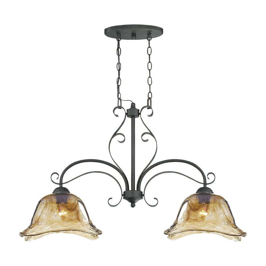 Millennium Lighting Chatsworth W 2-Light Burnished Gold Kitchen Island Light with Shade