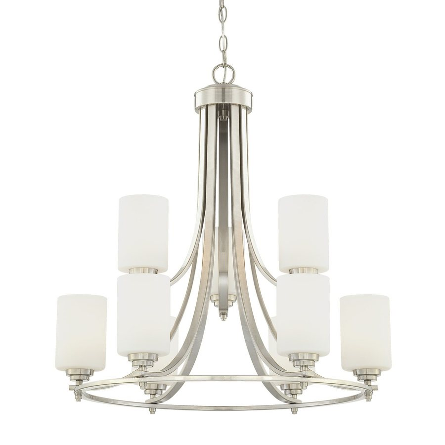 Millennium Lighting Bristo 25.5-in 9-Light Satin Nickel Etched Glass Tiered Chandelier