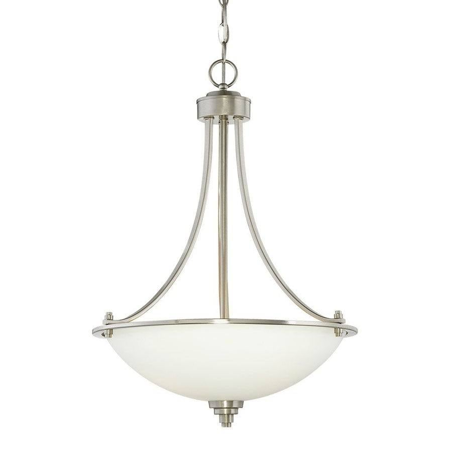Millennium Lighting Bristo 17.5-in Satin Nickel Vintage Single Etched Glass Bowl Pendant