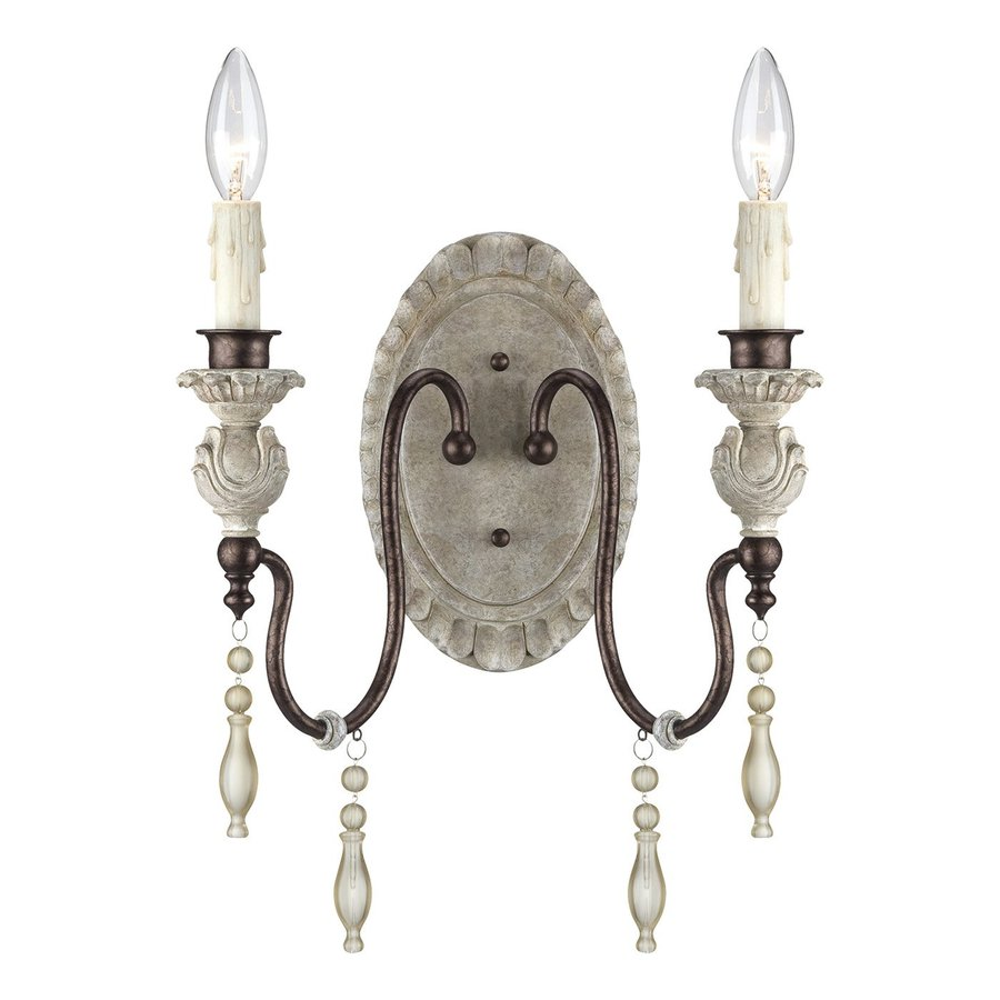 Millennium Lighting Denise 12-in W 2-Light Antique White/Bronze Arm Wall Sconce