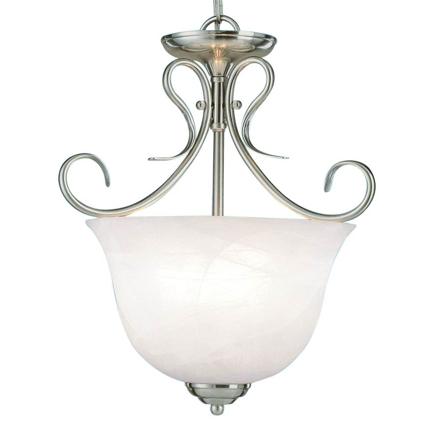 Millennium Lighting 13-in Satin Nickel Vintage Single Alabaster Glass Urn Pendant