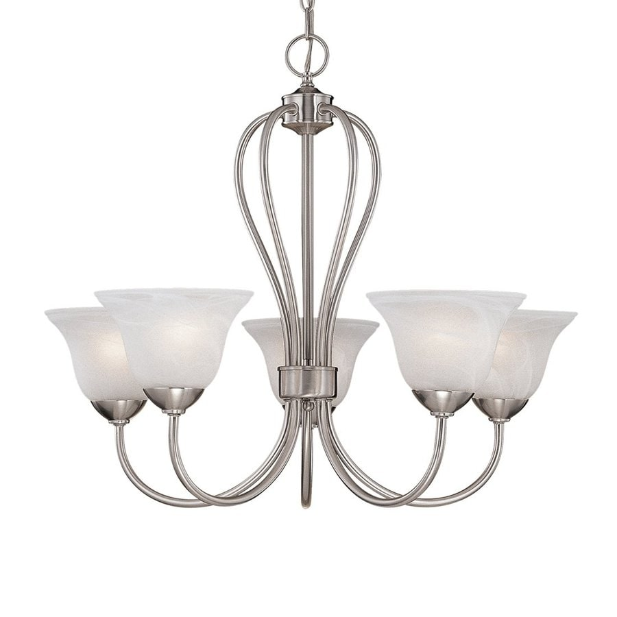 Millennium Lighting Main Street 25.5-in 5-Light Satin Nickel Country Cottage Alabaster Glass Shaded Chandelier