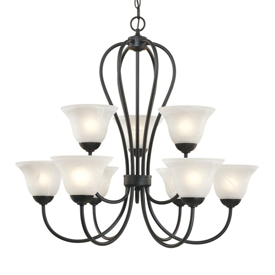 Millennium Lighting Main Street 30-in 9-Light Matte black Wrought Iron Alabaster Glass Tiered Chandelier
