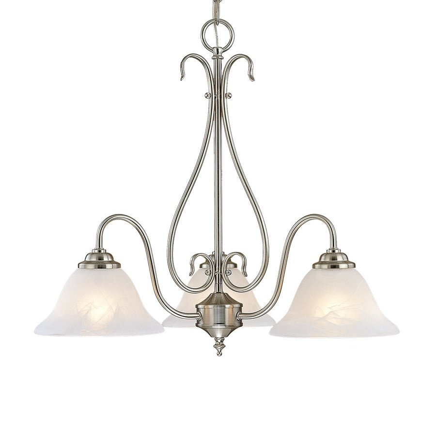 Millennium Lighting 22.5-in 3-Light Satin Nickel Vintage Alabaster Glass Shaded Chandelier
