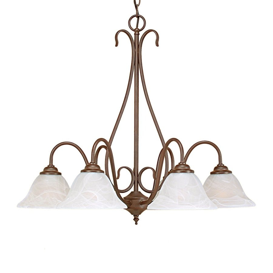 Millennium Lighting 27-in 6-Light Bronze Country Cottage Alabaster Glass Shaded Chandelier
