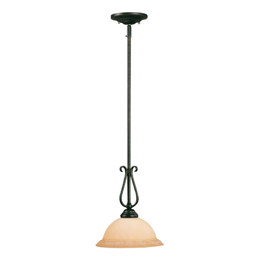 Millennium Lighting Manchester 9.5-in Burnished Gold Mediterranean Mini Tinted Glass Bell Pendant