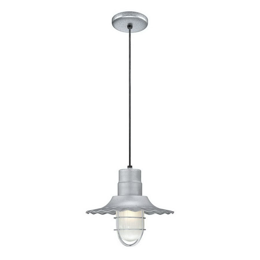 Millennium Lighting R Series 12-in Galvanized Country Cottage Mini Etched Glass Warehouse Pendant