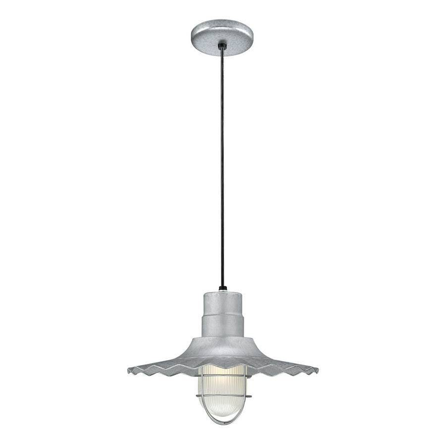 Millennium Lighting R Series 15-in Galvanized Country Cottage Single Etched Glass Warehouse Pendant