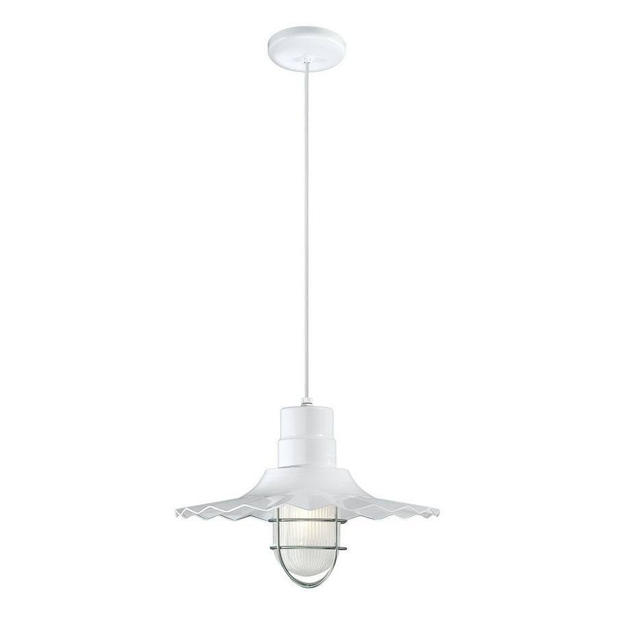 Millennium Lighting R Series 15-in White Country Cottage Single Etched Glass Warehouse Pendant