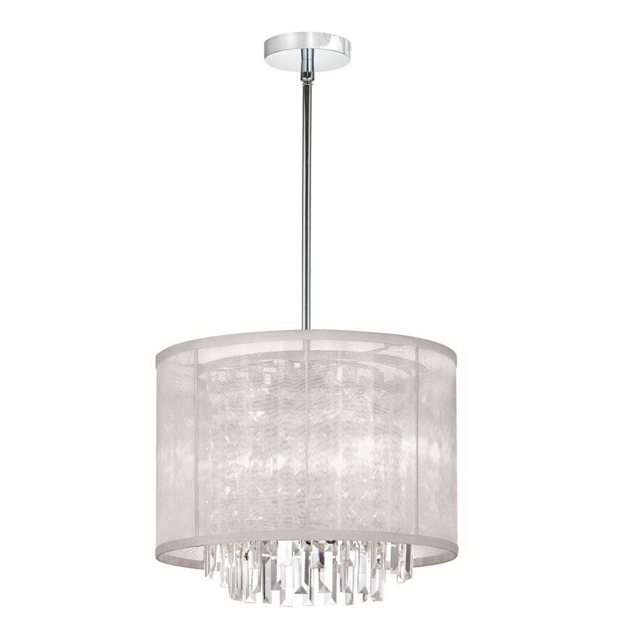 Dainolite Lighting 12 In W Organza Bling Polished Chrome Crystal Accent Pendant Light With Fabric Shade
