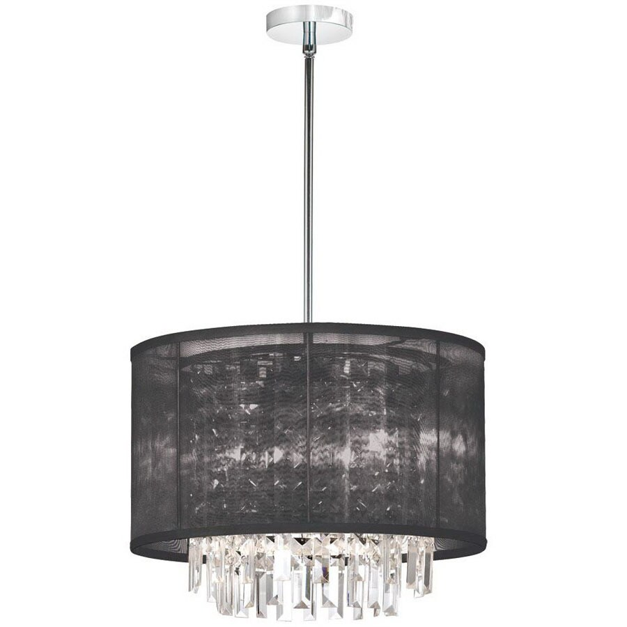 Dainolite Lighting 17 In W Organza Bling Polished Chrome Crystal Accent Pendant Light With Fabric Shade