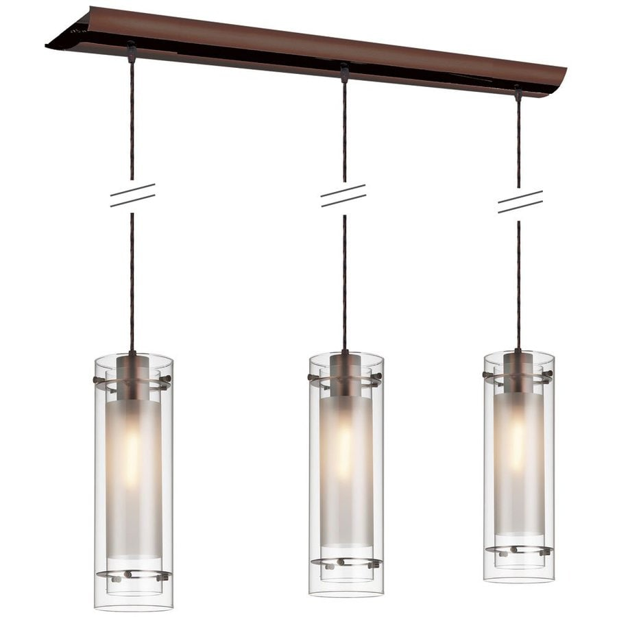 Dainolite Lighting Stem 35-in W 3-Light Oil Brushed Bronze Kitchen Island Light with Clear Shade