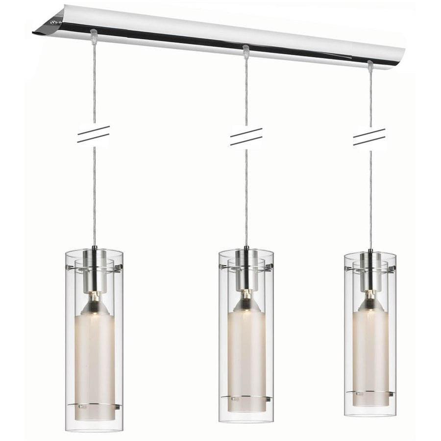 Dainolite Lighting Stem 35-in W 3-Light Polished Chrome Kitchen Island Light with Clear Shade