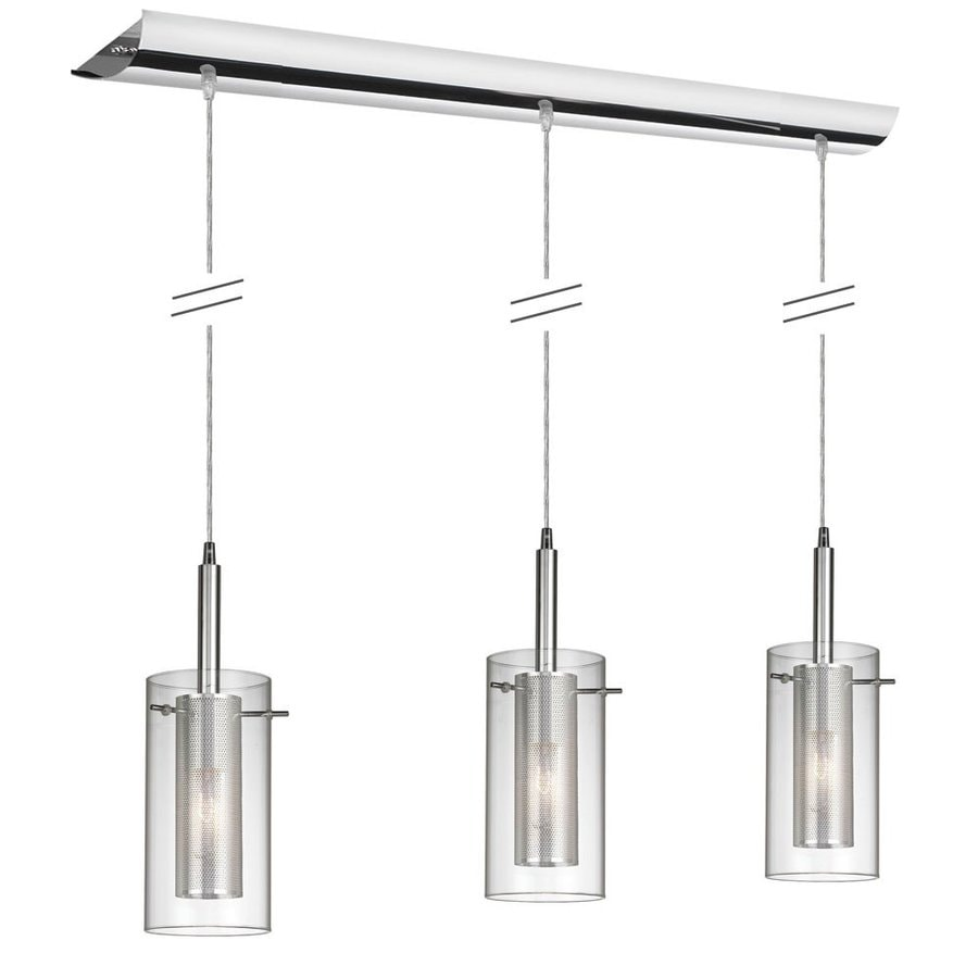 Dainolite Lighting 35-in W 3-Light Polished Chrome Kitchen Island Light with Clear Shade