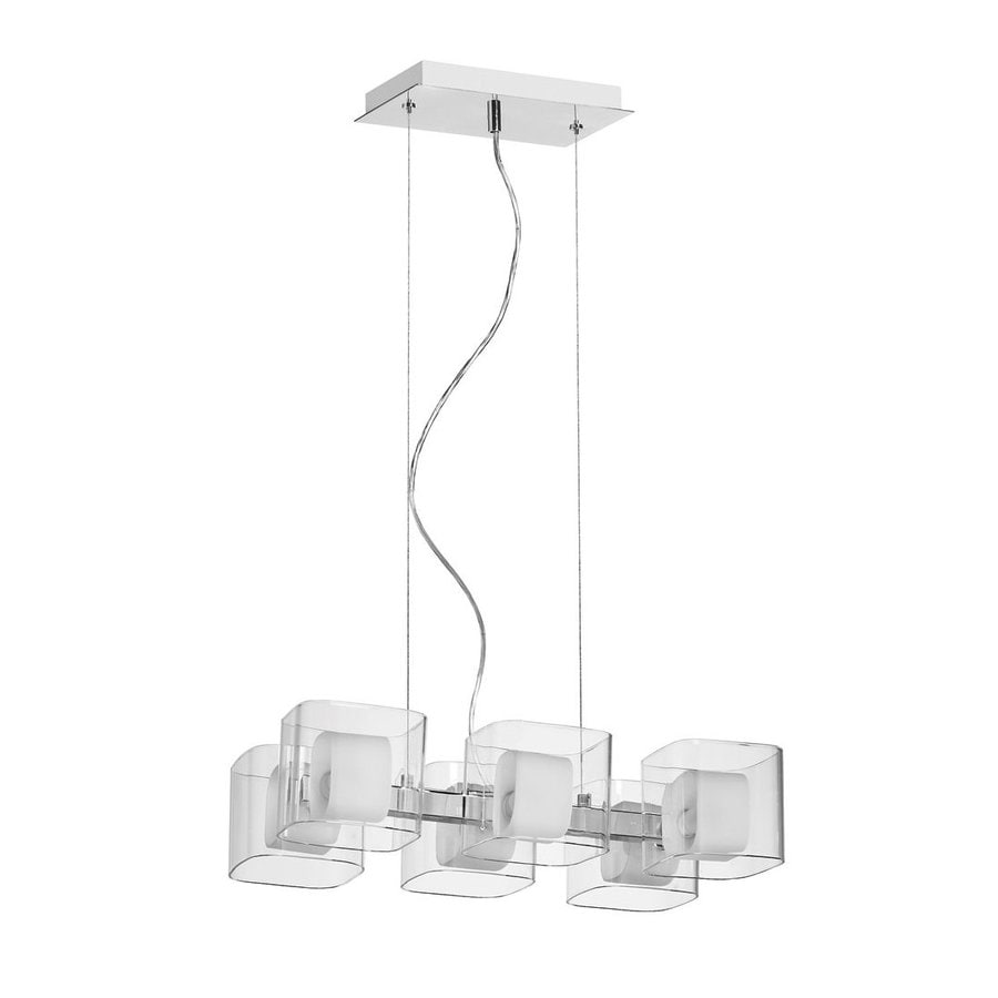 Dainolite Lighting 14-in W 6-Light Polished Chrome Kitchen Island Light with Clear Shade