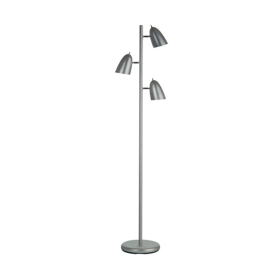 Dainolite Lighting 64-in Satin Chrome Multi-Head Floor Lamp with Metal Shade