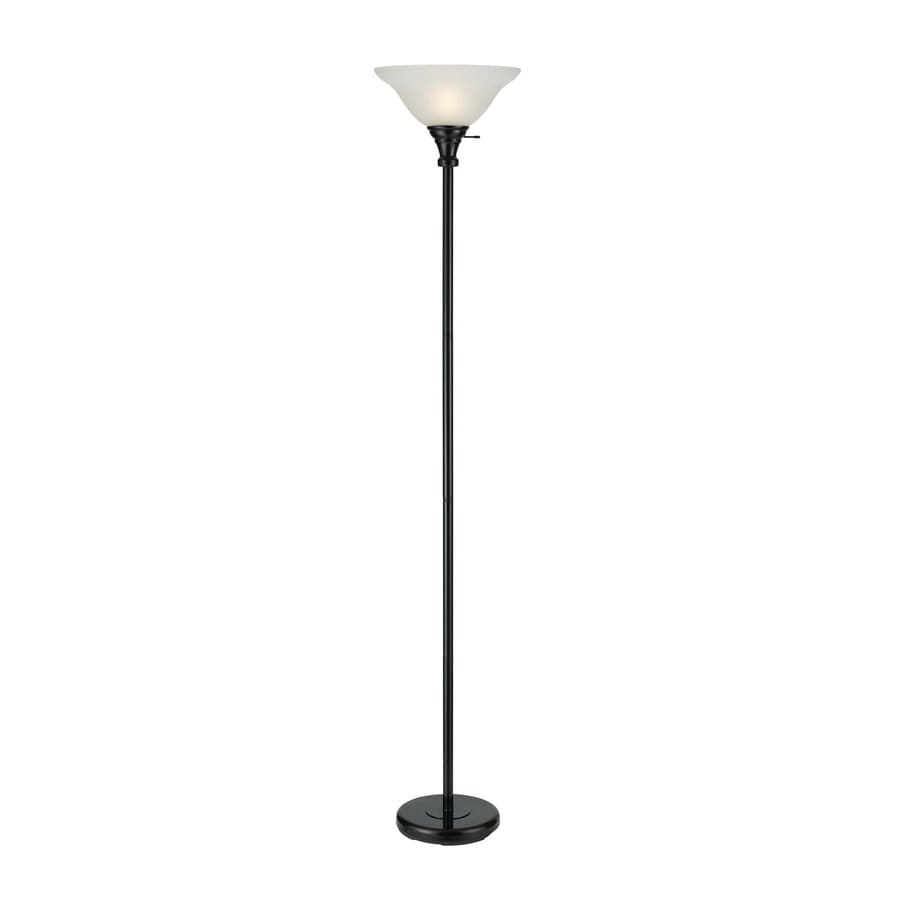 Cal Lighting 70-in 3-Way Black Torchiere Indoor Floor Lamp with Glass Shade