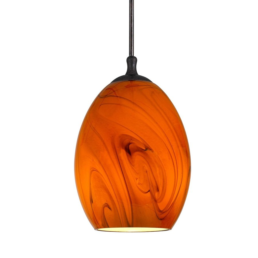 Cal Lighting 4-in Rust Mini Art Glass Oval Pendant